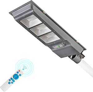 Solar Street Light, Dailyart 90W Outdoor Led Street Light Solar Powered with Remote Control/Motion Sensor 6500k IP65 Waterproof Dusk to Dawn Solar Lights for Yard, Garden, Street, Basketball Court
