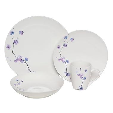 Melange Coupe 16-Piece Porcelain Dinnerware Set (Purple Zen) | Service for 4 | Microwave, Dishwasher & Oven Safe | Dinner Plate, Salad Plate, Soup Bowl & Mug (4 Each)