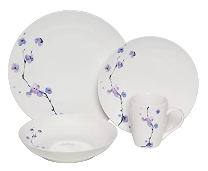 Melange Coupe 16-Piece Porcelain Dinnerware Set (Purple Zen) | Service for 4  sc 1 st  Amazon.com & Amazon.com | Melange Coupe 16-Piece Porcelain Dinnerware Set (Purple ...
