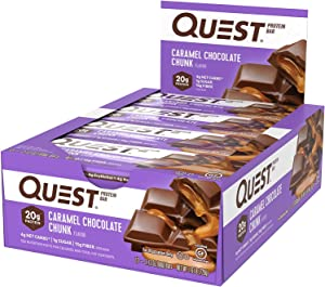 Quest Nutrition Caramel Chocolate Chunk Protein bar, High Protein, Low Carb, Gluten Free, Keto Friendly, 12Count