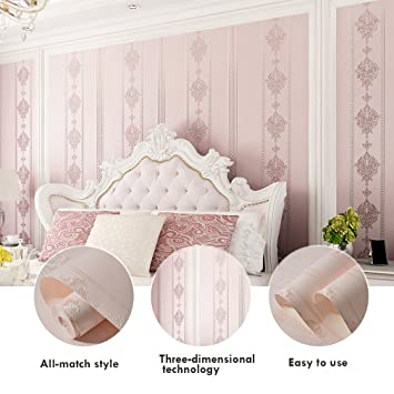 Fabulous KINLO® Tapete Muster Rosa 10Mx53cm Top Tapete Barock Vliestapete QF23