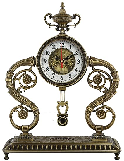 Reloj de oficina metálico, diseño réplica tiene chateau steampunk