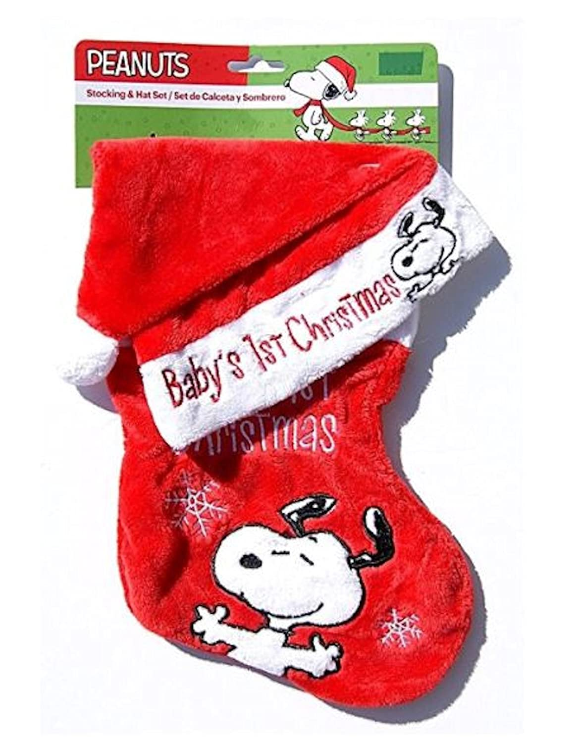 peanuts snoopy soft babys first christmas stocking and hat set dan dee - Snoopy Christmas Stocking