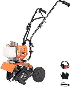 PROYAMA 12-inch 42.7cc 2-Stroke Portable Gas Garden Tiller Cultivator with Adjustable Depth
