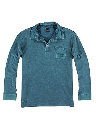 engbers Herren Poloshirt Langarm, 26728, Blau