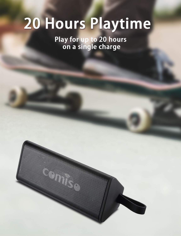 Id/éal Camping Enceinte Bluetooth 4.2 Portable Etanche IPX7 Etanche Basses Puissantes COMISO Haut-Parleur Bluetooth Enceinte sans Fil 20 Heures Playtime lext/érieur Les Voyages Pilote Double