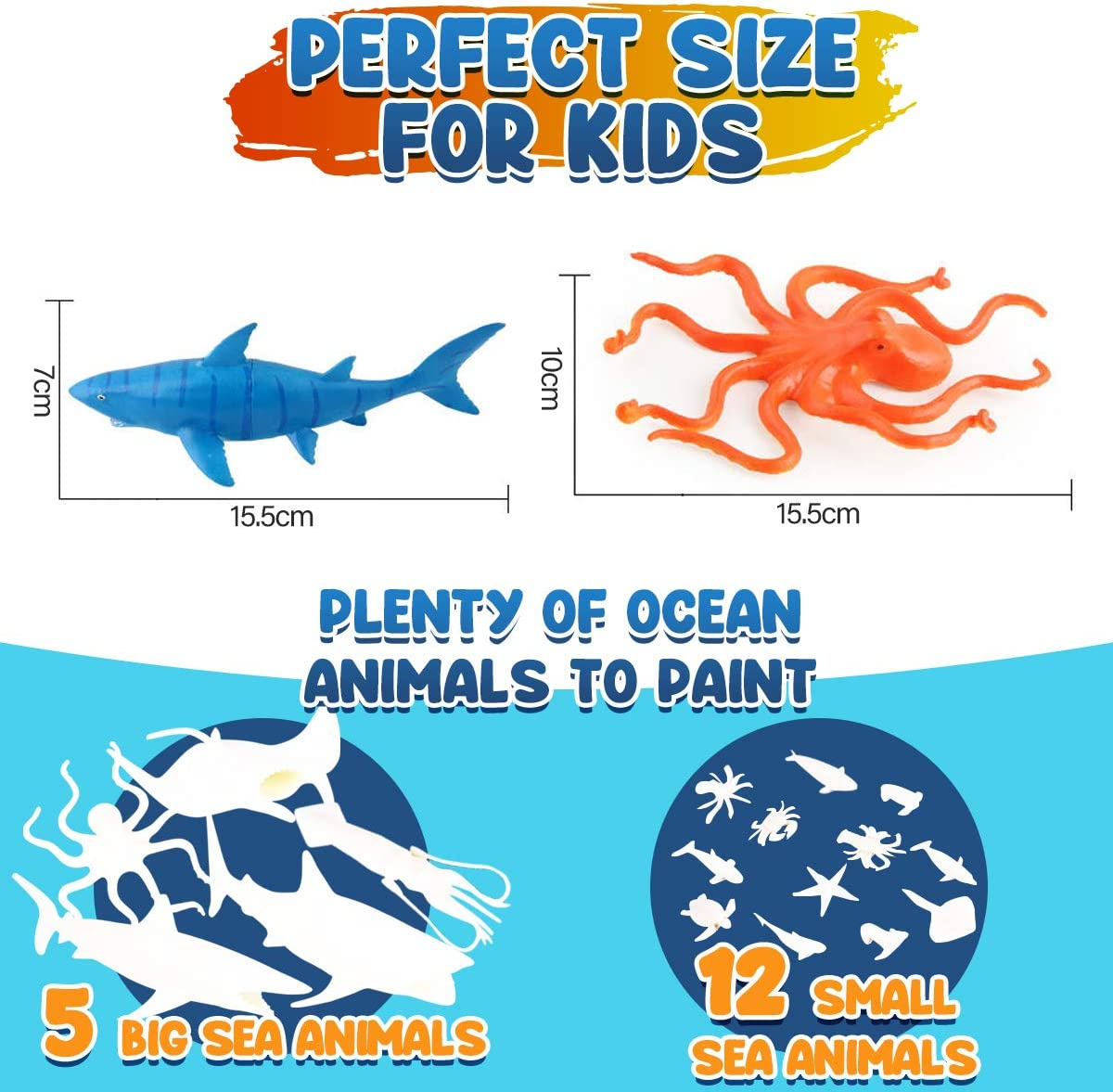 Ocean Sea Animal Toys Art and Craft Supplies Party Favors for Boys Girls Age 4 5 6 7 Years Old Kid Creativity DIY Gift Easter Paint Your Own Creatures FunzBo Kids Crafts and Arts Set Painting Kit