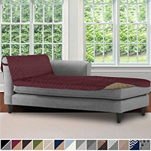 Sofa Shield Original Patent Pending Reversible Chaise Lounge Slipcover, 2 Inch Strap Hook, 102 Inch x 34 Inch Size Furniture Protector, Couch Slip Cover for Kids, Pets, Chaise Lounge, Burgundy Tan