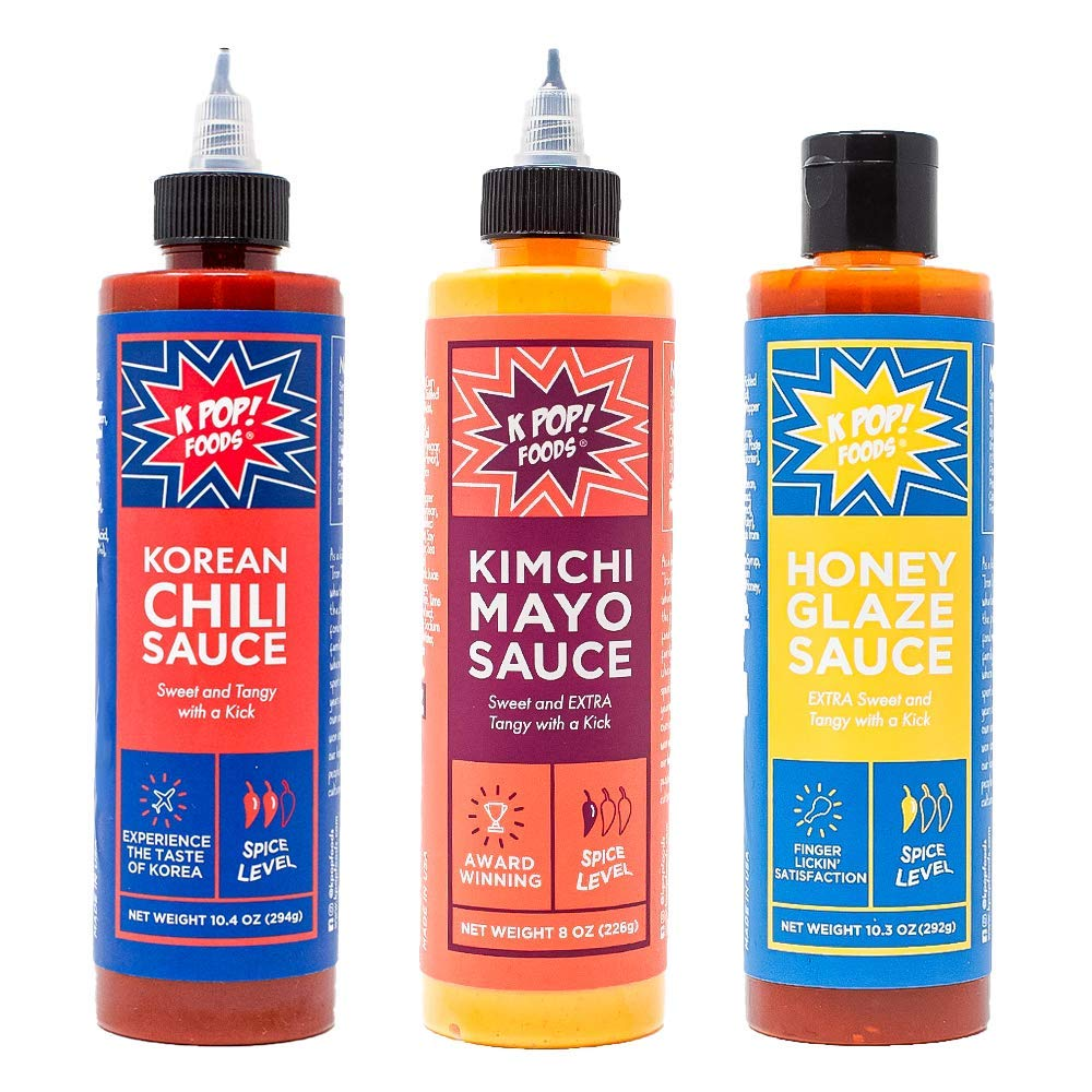 KPOP Foods Variety Sauce Set, Inspired by Korean Food & Flavors: Includes KPOP Gochujang Sauce, Kimchi Spicy Mayo, Honey Glaze Chili Garlic Sauce, Recipes, and Stay Saucy Custom Box.