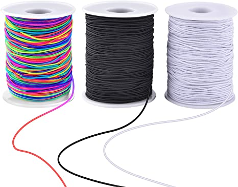 Zealor 2 Roll 0.8 mm Elastic String Cord Elastic Thread Beading String Cord for Jewelry Making Bracelets Beading 100 Meters//Roll White