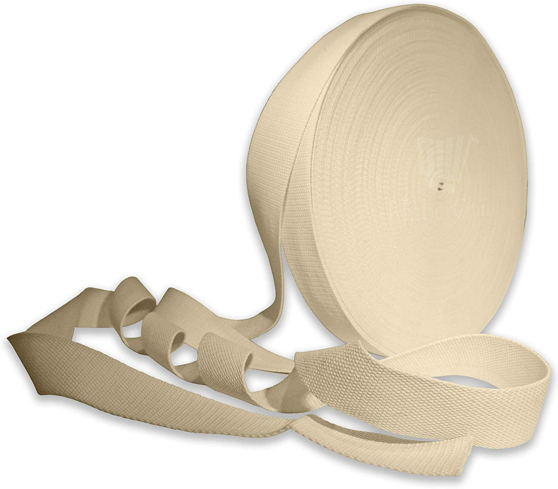 Crema 25 mm de ancho correas de algodón correas de cinta correa de tela bolsa de flejes, beige, 3 m: Amazon.es: Hogar