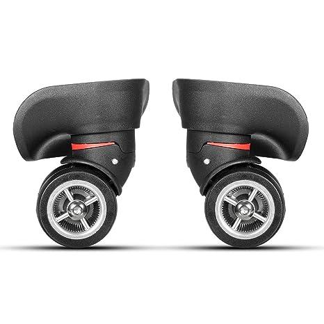 2 ruedas giratorias de plástico negro izquierdo y derecho con 8 tornillos para maletas de equipaje