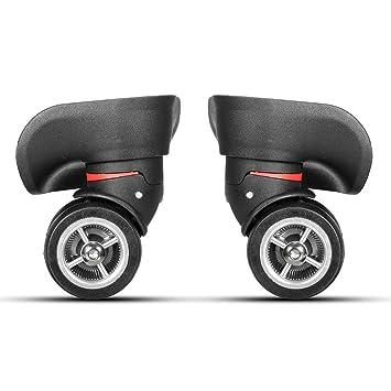 2 ruedas giratorias de plástico negro izquierdo y derecho con 8 tornillos para maletas de equipaje, ruedas de repuesto de 10,6 x 11 x 4,9 mm: Amazon.es: ...