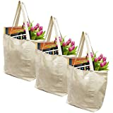 Earthwise Reusable Grocery Bags X-Large 100% Cotton Canvas Shopping Beach Cloth Tote ( 3 Pack)