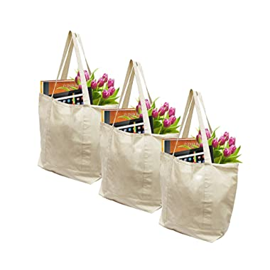 Earthwise Reusable Grocery Bags X-Large 100% Cotton Canvas Shopping Beach Cloth Tote (3 Pack)