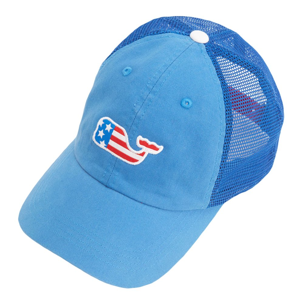 dc264571683 New Vineyard Vines Whale Flag Patch Trucker Aviator Blue Womens Hat  Amazon.ca   Clothing   Accessories