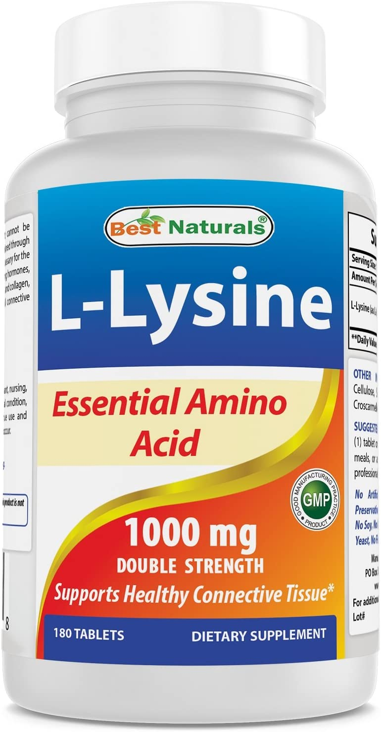 Best Naturals Lysine 1000mg,Double Strength,180 Tablets