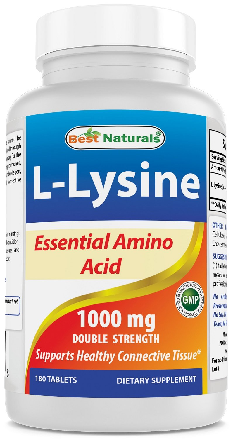 Best Naturals Lysine 1000mg,Double Strength,180 Tablets by Best Naturals