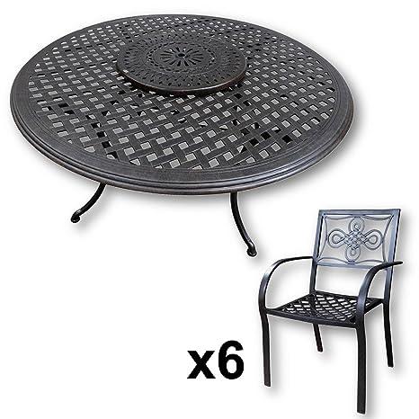 Lazy Susan - Table Ronde 150 cm Valerie, 6 chaises de Jardin ...