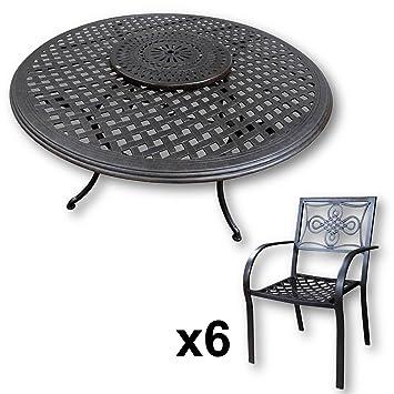 Lazy Susan - Table Ronde 150 cm Valerie, 6 chaises de Jardin et ...