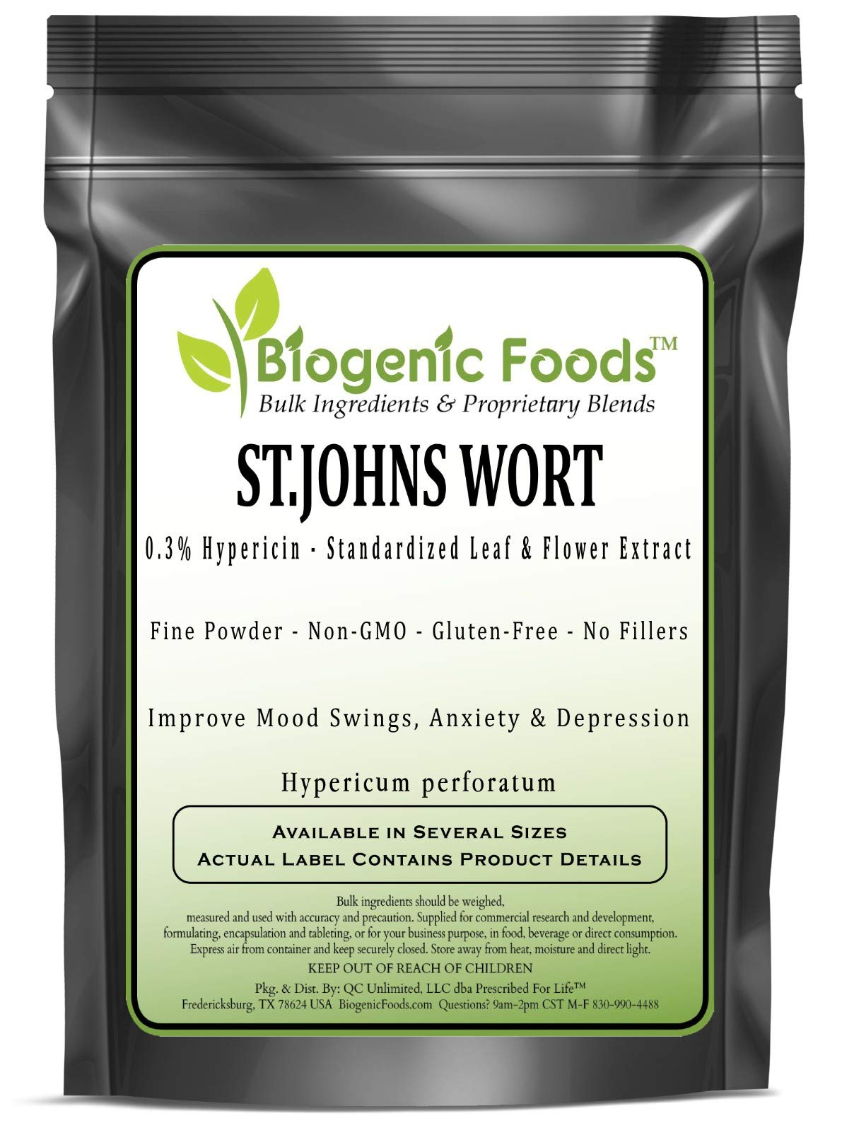 St.Johns Wort - 0.3% Hypericin - Standardized Leaf & Flower Fine Powder Extract (Hypericum perforatum), 1 kg