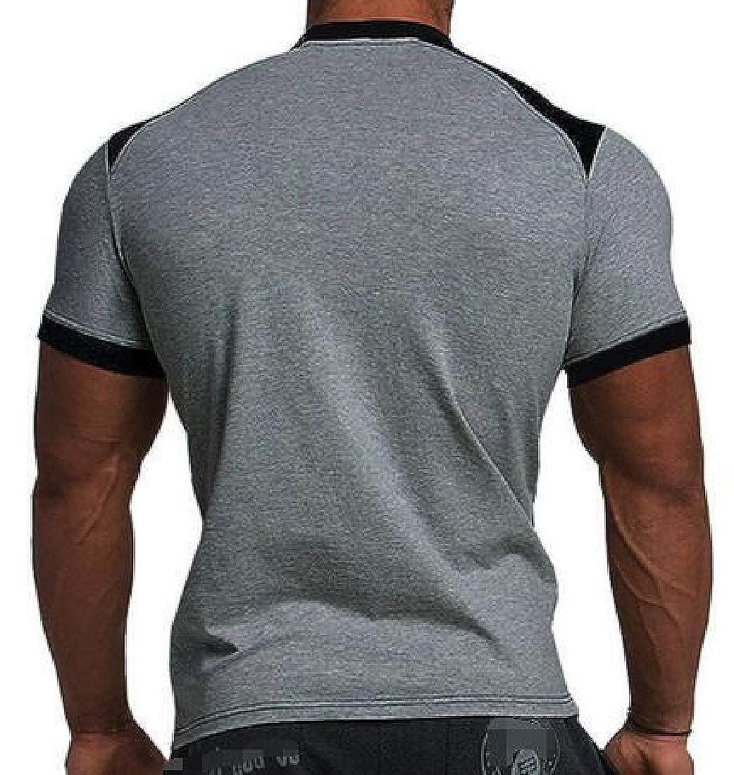 Joe Wenko Mens Stylish Color Block Short Sleeve Casual Crew Neck T-Shirt Top Tee