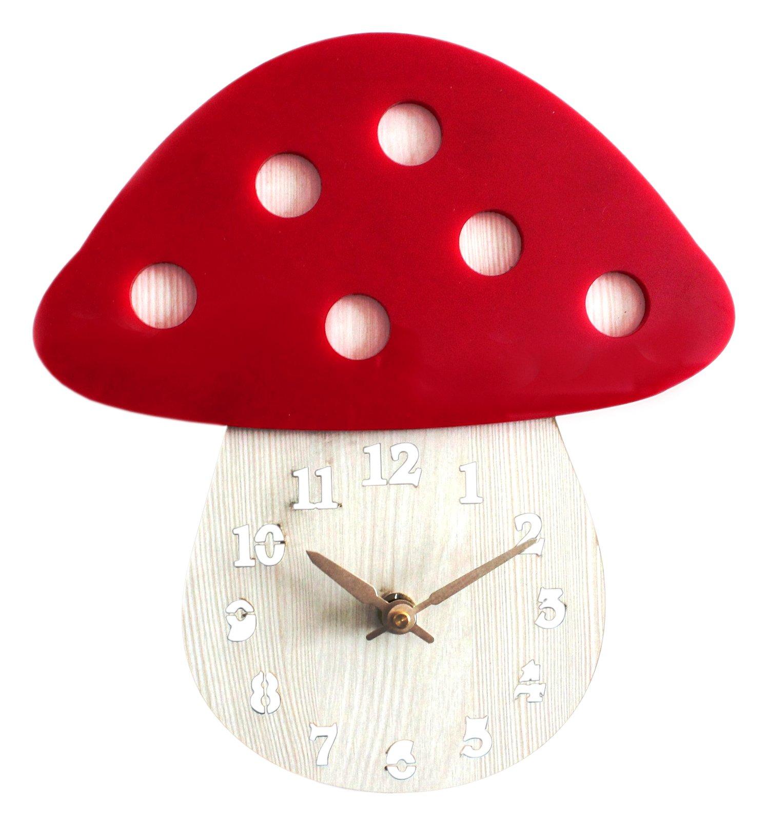 Pasargad Carpets Mushroom Home Decoration Hanging Clocks for Children Room, 11'' x 12'', Acrylic Red