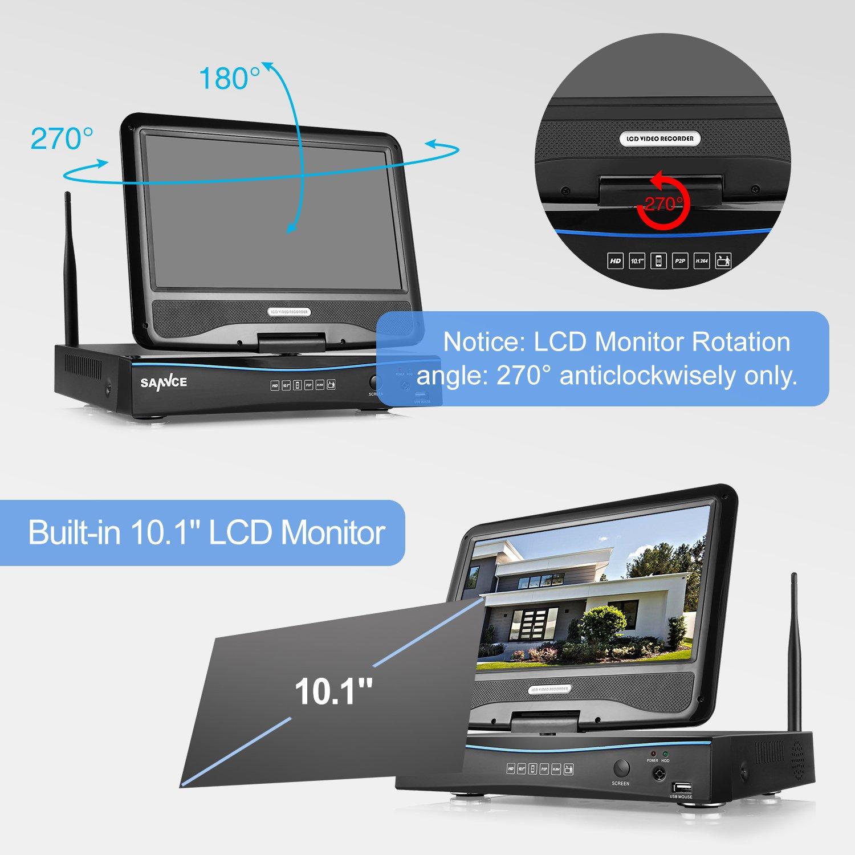 SANNCE sistema de vigilancia wifi NVR 1080P inalámcrica con pantalla LCD de 10.1 pulgadas y 4 cámaras de seguridad (Onvif H.264 CCTV 4CH NVR wifi y 4 ...