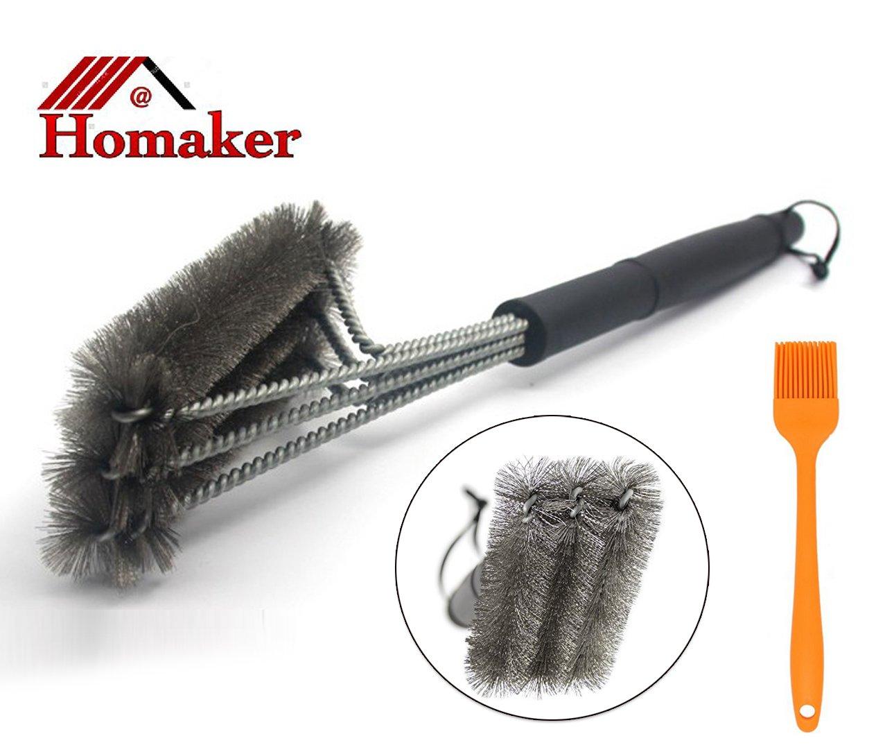 """Homaker 18"""" Best Bbq Grill Brush 3 In 1 Stainless Steel Brush Bristles For We.. 12"""