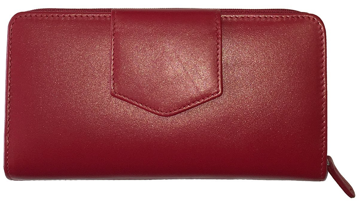 Red RFID Leather Checkbook Wallet
