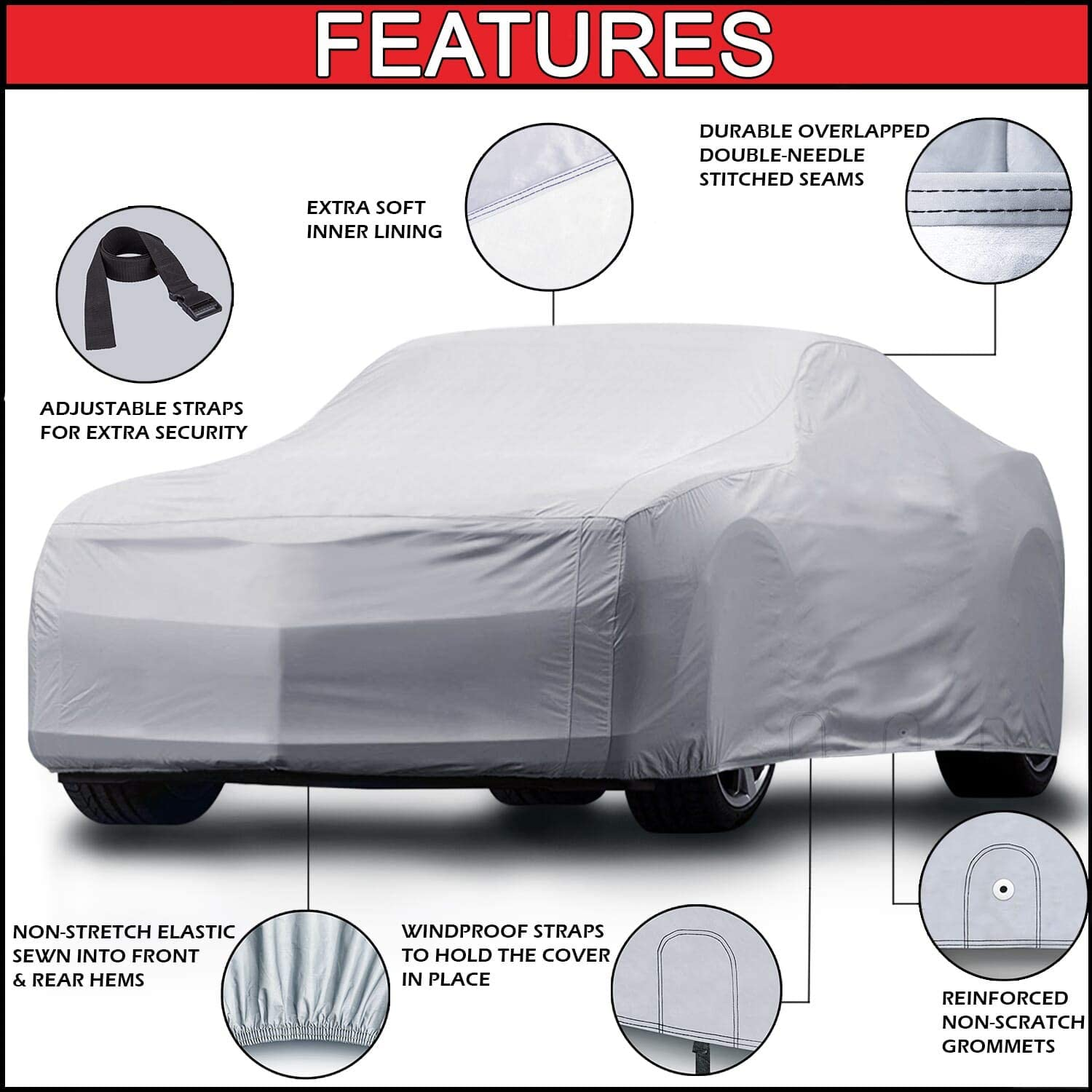 for Cars Up to 203 iCarCover {3-Year Full Warranty} All-Weather Waterproof Snow UV Heat Protection Dust Scratch Resistant Windproof Weatherproof Breathable Automobile Indoor Outdoor Auto Car Cover