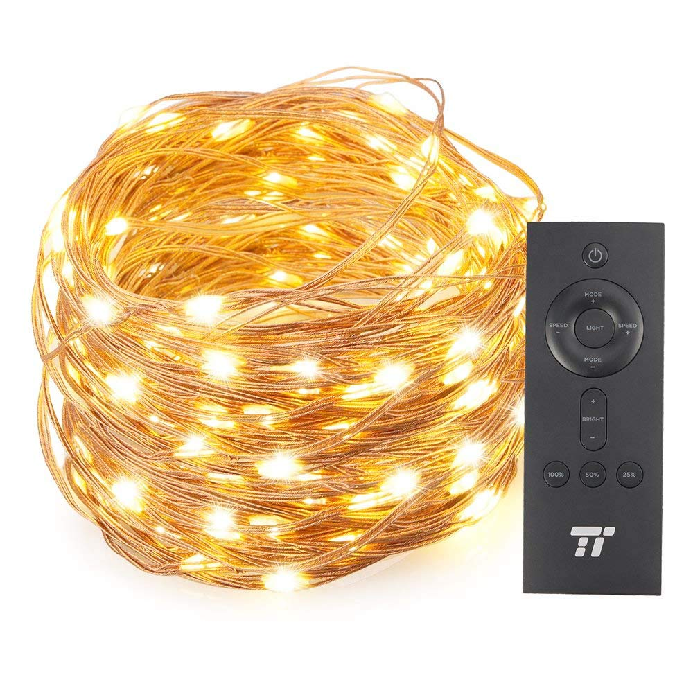 TaoTronics 66ft 200 LED String Lights with RF Remote Control, Christmas Decorations Lights with Multiple Lighting Modes, Super Soft Copper Wire Waterproof for Outdoor & Indoor Decorative Lights