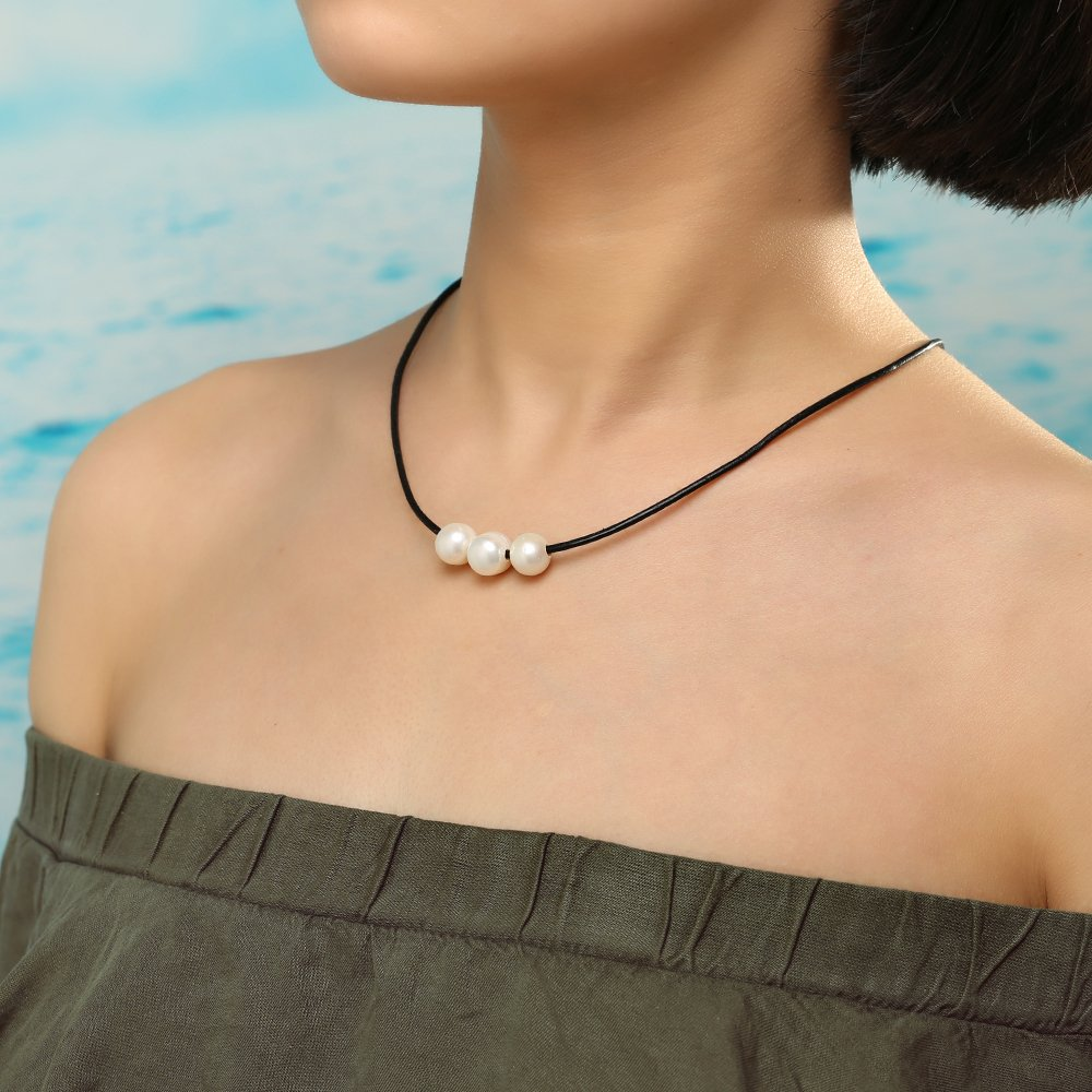 14'' Black Handmade 3 Pearl Choker Necklace Beads on Genuine Leather Cord 4 Size Available by Shengsheng (Image #2)