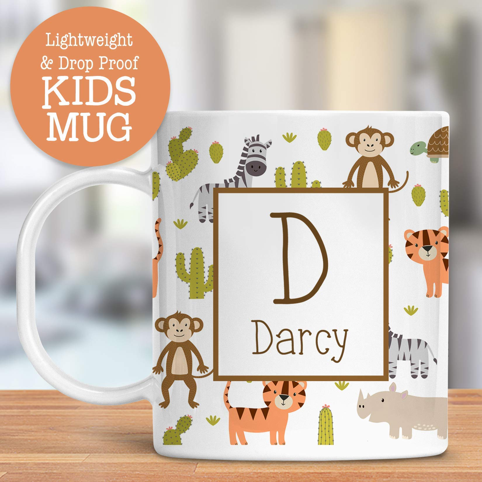 Kids Personalized Mug Jungle Animals Customize with Name and Initial Lightweight and Drop Proof | Dishwasher Safe | Child Toddler Cup BPA Free
