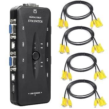Conmutador KVM USB Adaptador - BAtech 4 puerto USB 2.0 KVM Switch de Sobremesa Caja con 4 VGA Cables USB para Monitor de PC Ratón Teclado Control: ...