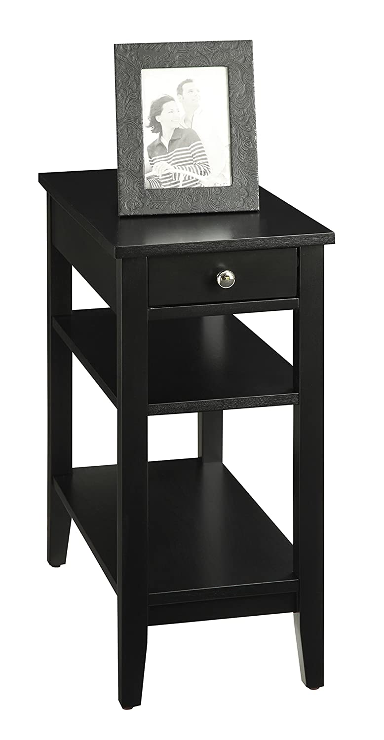 Convenience Concepts American Heritage 3-Tier End Table with Drawer, Black