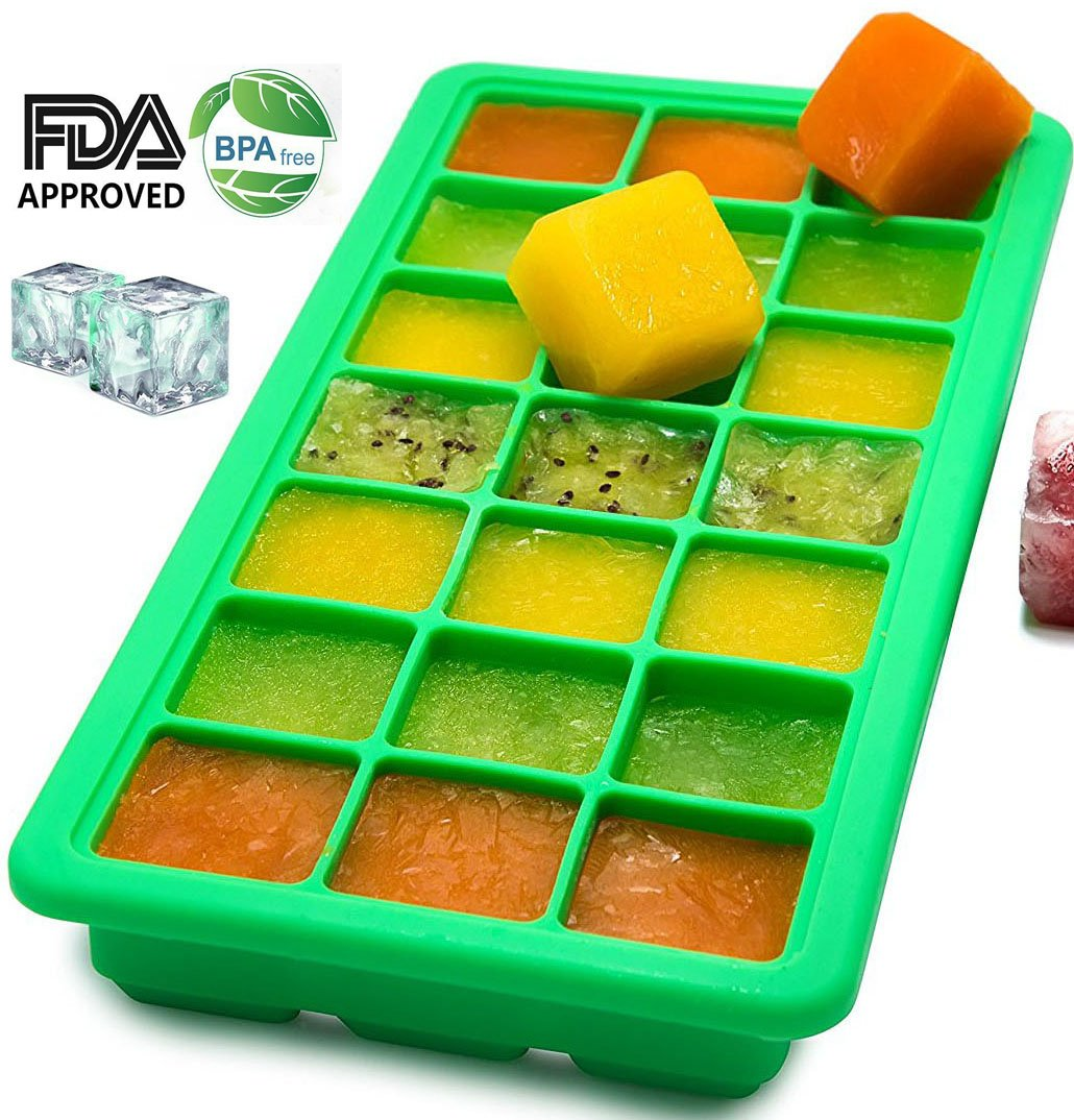 Silicone Ice Cube Trays - Easy Release Ice Cube Mold with Lid - 21 Square Ice Cubes Maker for Whiskey BPA Free Green