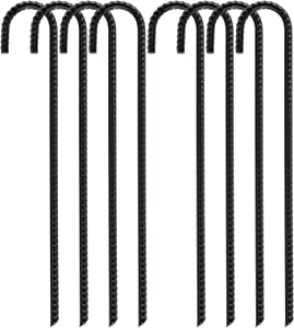 FEED GARDEN 16 inch Rebar Stakes Heavy Duty J Hook, Ground Stakes Tent Stakes Steel Ground Anchors, Black, 8 Pack