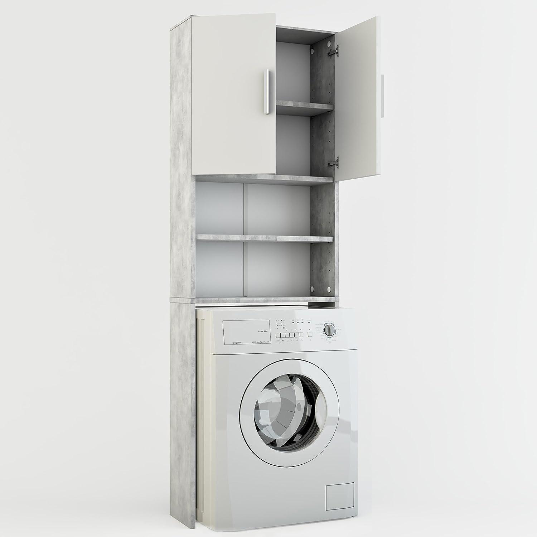 Weiss Matt Wei/ß Badregal Hochschrank Waschmaschine Bad Schrank Badezimmerschrank /Überbau Vicco Waschmaschinenschrank 190 x 64 cm