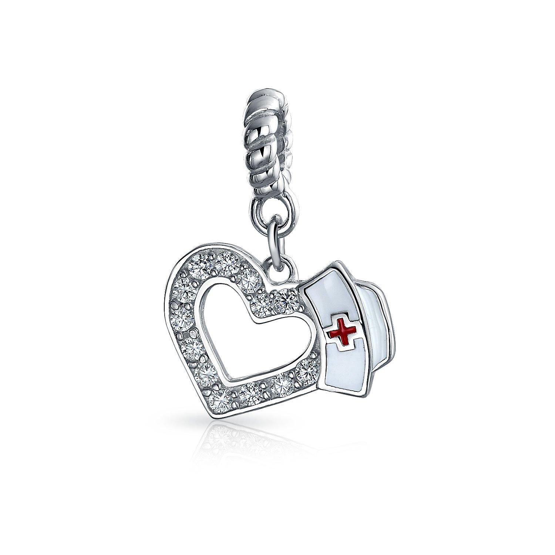 Bling Jewelry Nurse Hat Heart Shaped Dangle Bead Charm .925 Sterling Silver PBX-HSD-183