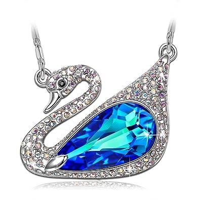 e103309707342c LADY COLOUR Sapphire Teardrop Pendant Necklace Blue Swarovski Crystals  Jewelry for Women Lovey Swan Animal Design