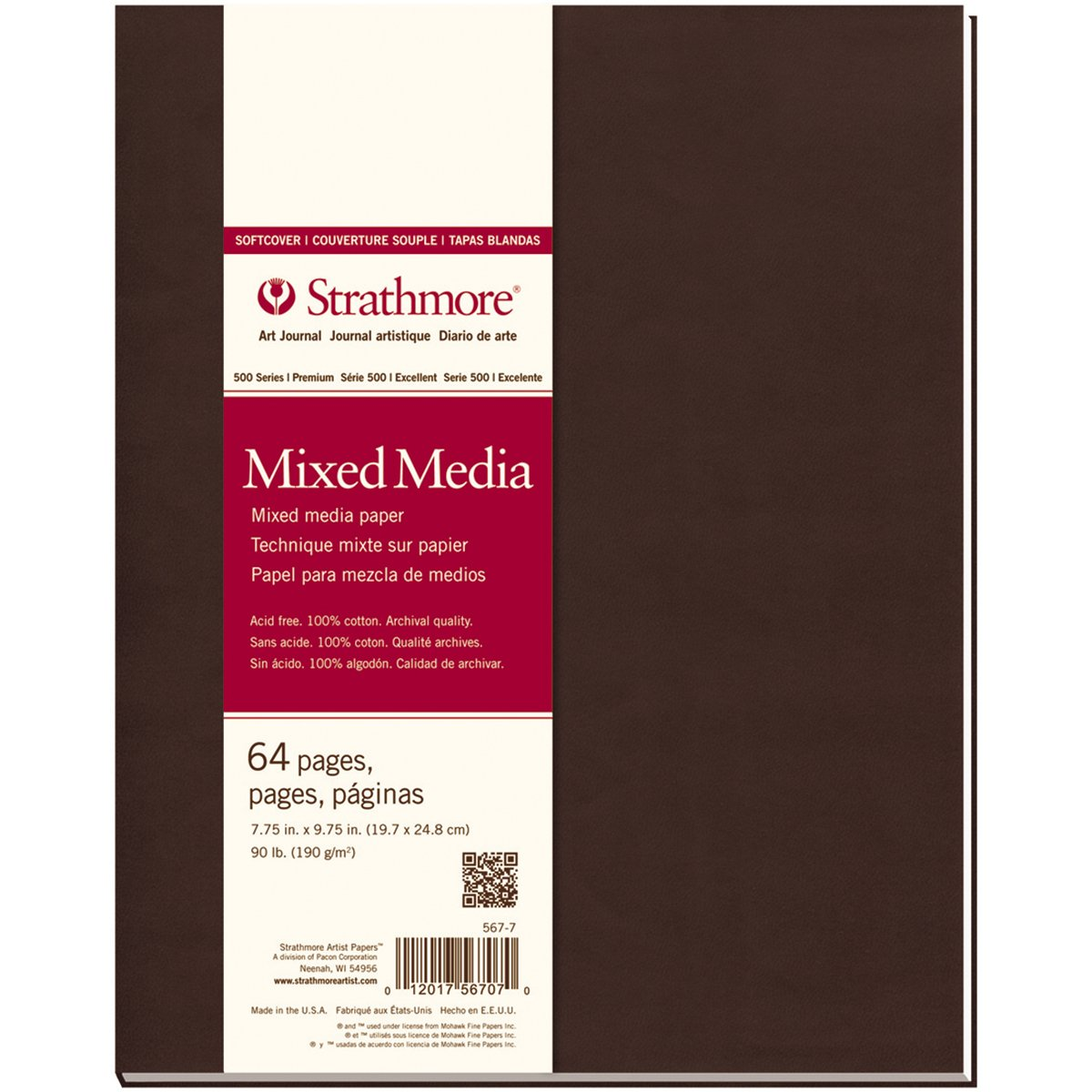 Strathmore 567-7 500 Series Softcover Mixed Media Art Journal, 7.75''x9.75'' 32 Sheets by Strathmore