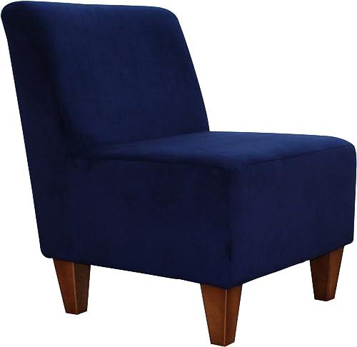 Parker Lane Armless Slipper Chair, Microfiber Navy Blue