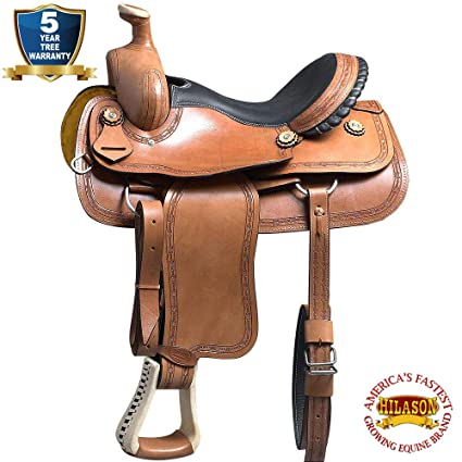 HILASON 16 BIG KING SERIES WESTERN WADE RANCH ROPING COWBOY SADDLE SADDLE  TAN