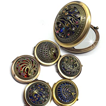Amazon Com Mezerdoo 1pcs Vintage Gifts Hand Mirrors Hollow Peacock Style Pocket Mirror Mini Portable Compact Mirrors Girl Double Side Folded Makeup Tools Sent By Random Beauty