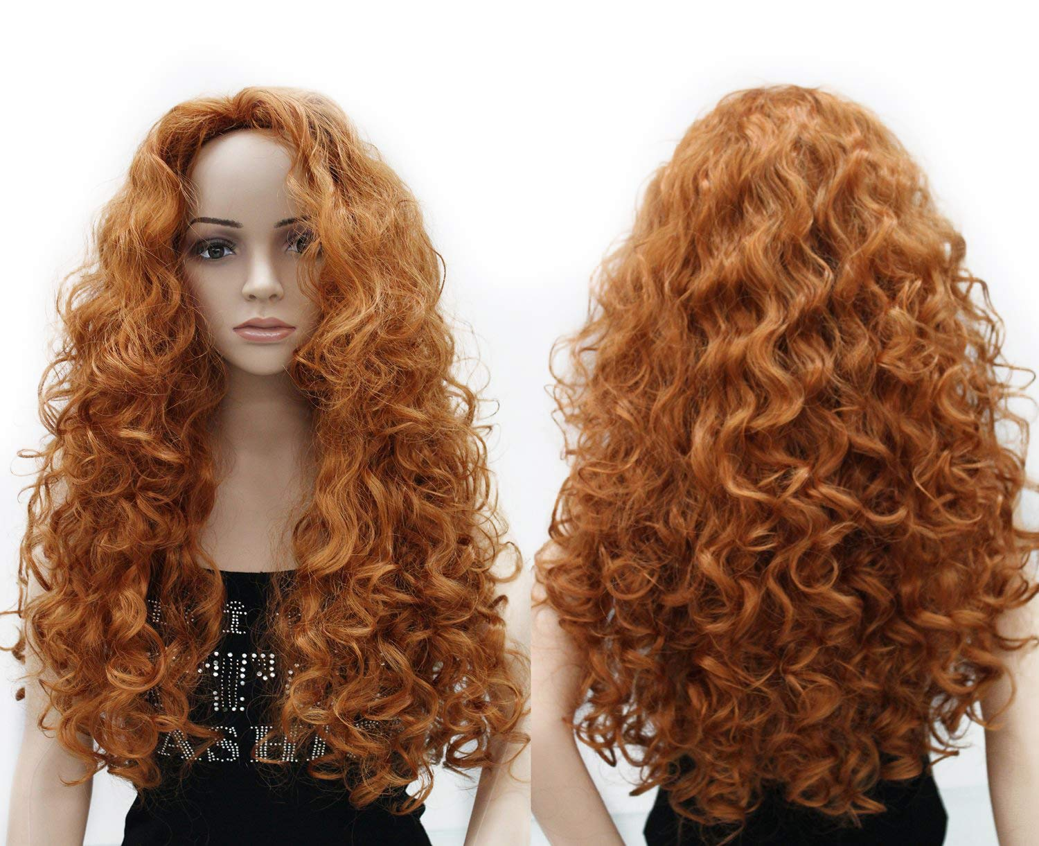 OneDor Long Hair Curly Wavy Full Head Halloween Wigs Cosplay Costume Party Hairpiece (130A-Fox Red) by Onedor