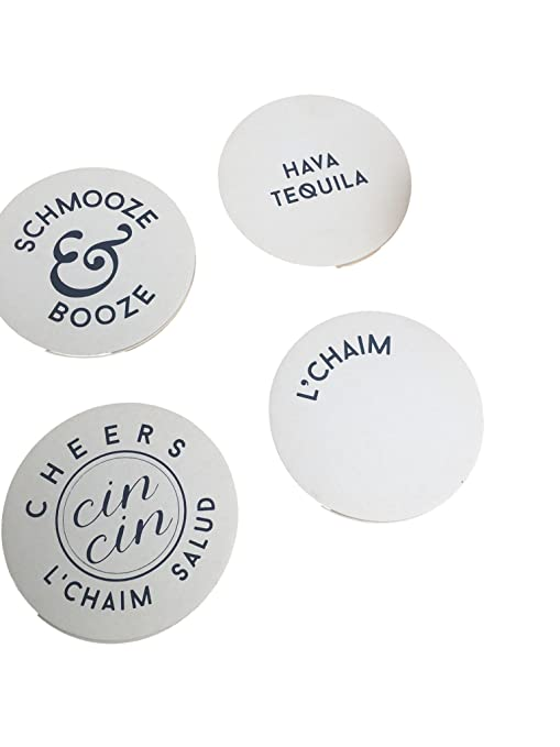Amazon Set Of 12 Jewish Coasters In Silver Foil Lchaim Cheers