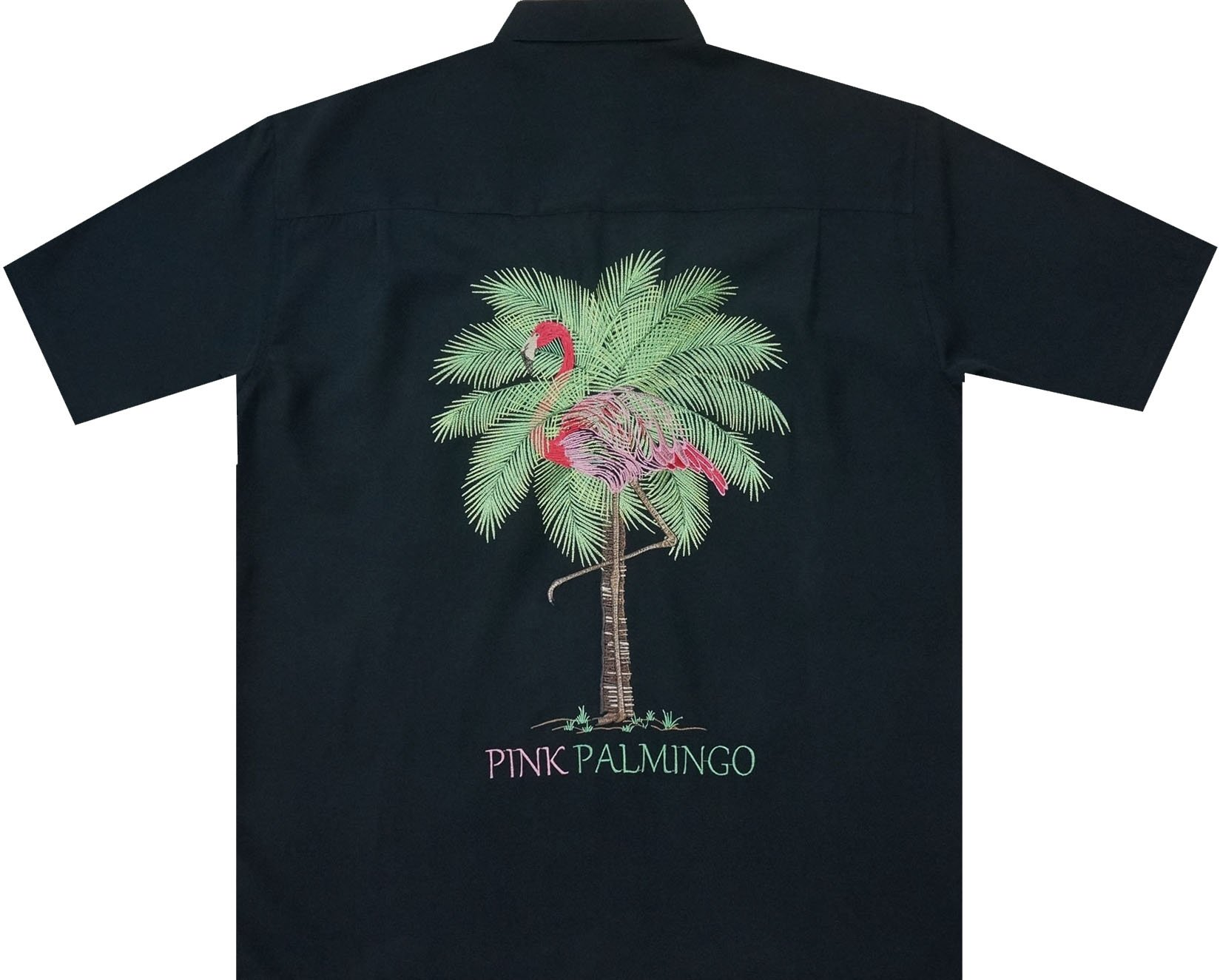 Bamboo Cay Men's Pink Palmingo, Tropical Style Button Front Embroidered Camp Shirt (Large)