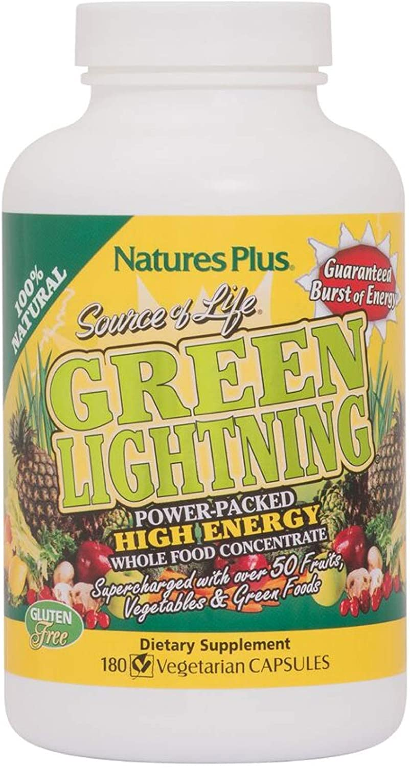 NaturesPlus Source of Life Green Lightning – 180 Vegetarian Capsules – All Natural High Energy Whole Food Supplement – Green Superfoods Digestive Enzymes – 45 Servings