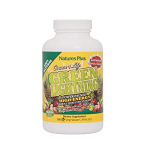 NaturesPlus Source of Life Green Lightning - 180 Vegetarian Capsules - All Natural High Energy Whole Food Supplement - Green Superfoods & Digestive Enzymes - 45 Servings